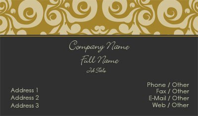 Black and Gold Damask Business Card Template